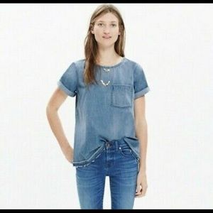 Madewell Denim Drop-Hem Tee in Edna Wash in XS
